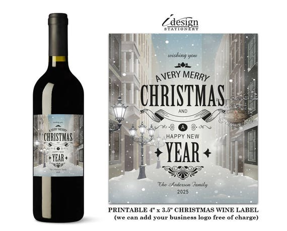 Christmas Wine Labels Typography Holiday Wine Bottle Label Etsy