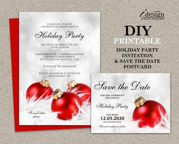 Christmas Party Save The Date Cards.Printable Christmas Party Invitations With Save The Date