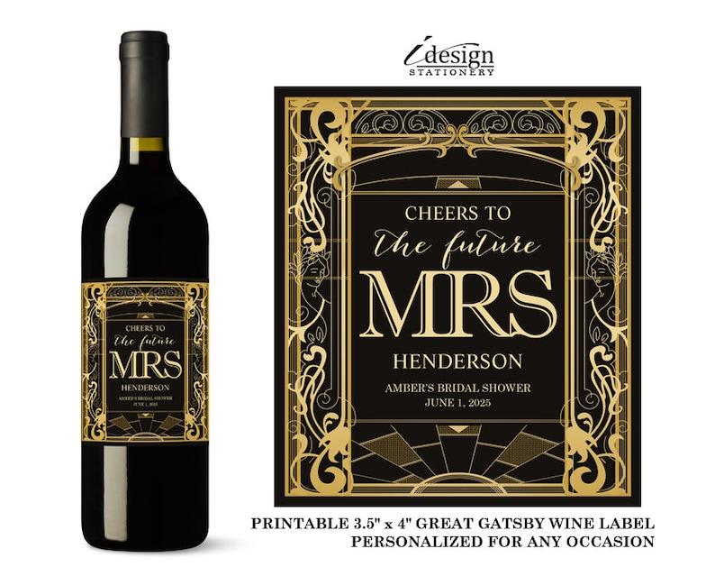Printable Custom Art Deco Wedding Bachelorette Party Wine Bottle Labels Great Gatsby Bridal Shower Mini Wine Or Champagne Label Birthday