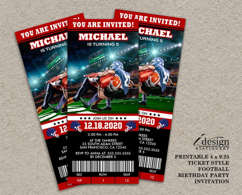 Football Birthday Party Invitations Printable Sports Themed