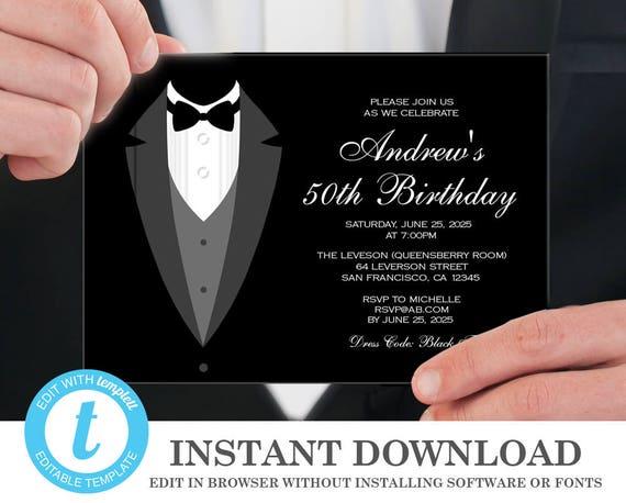 Tuxedo Invitation 50th Birthday Invitations Instant