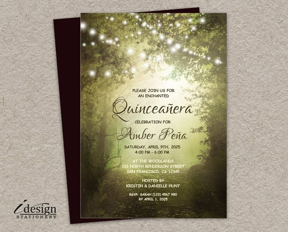 quinceanera invitation printable enchanted forest etsy