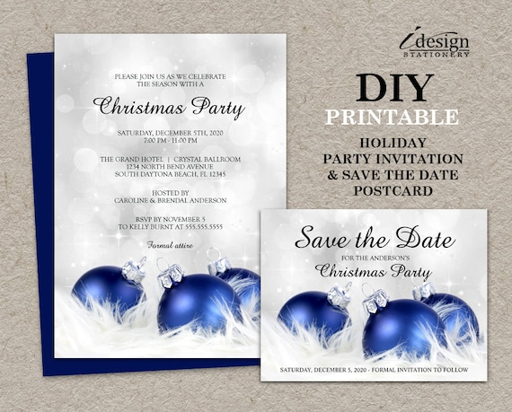 Personalized Christmas Party Invitations With Save The Date Etsy