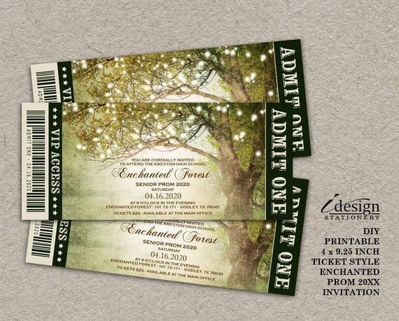 enchanted forest prom invitation with string lights etsy