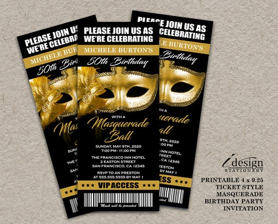 50th Birthday Party Masquerade Ball Ticket Invitation