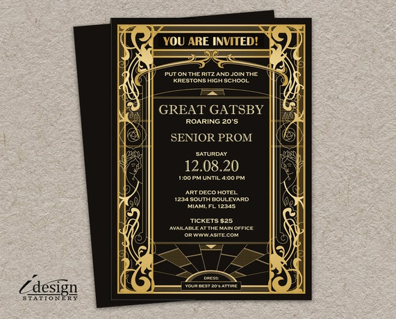 Great Gatsby Prom Invitation DIY Printable Vintage Art Deco