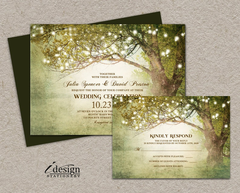 Woodland Wedding Invitations With Rsvp Printable Rustic Etsy