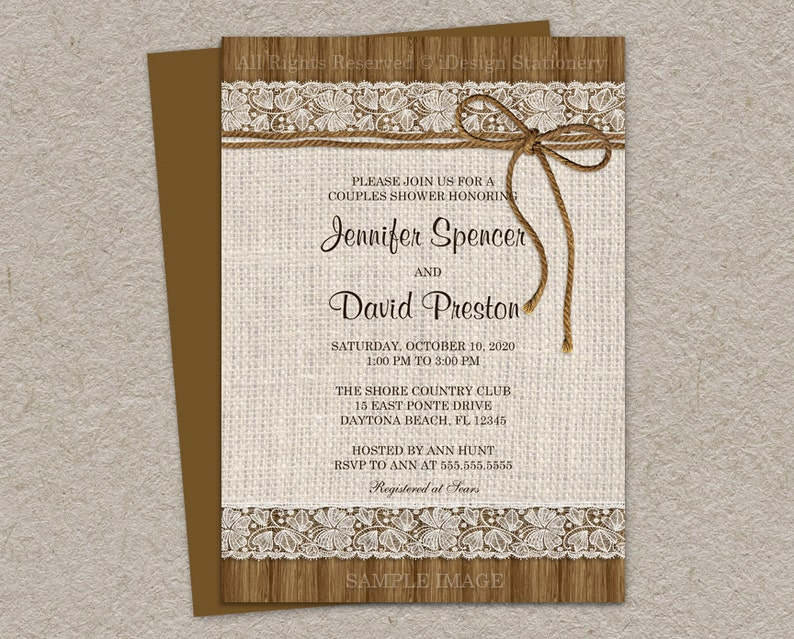 6238ff32be1 Rustic Wedding Shower Invitation Printable Burlap And Lace
