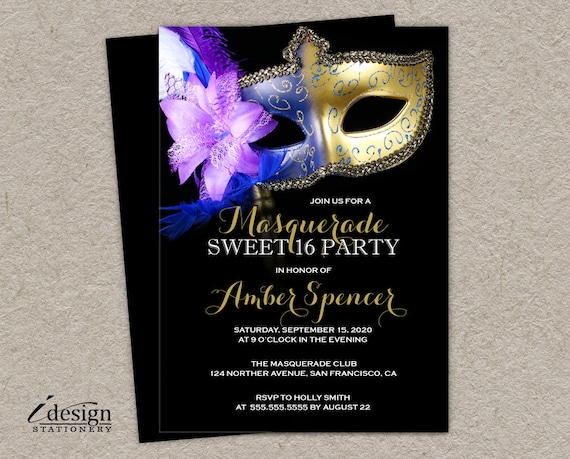 sweet 16 masquerade invitation diy printable mardi gras sweet etsy