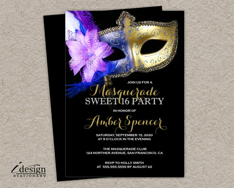 Sweet 16 Masquerade Invitation DIY Printable Mardi Gras Sixteen Invite