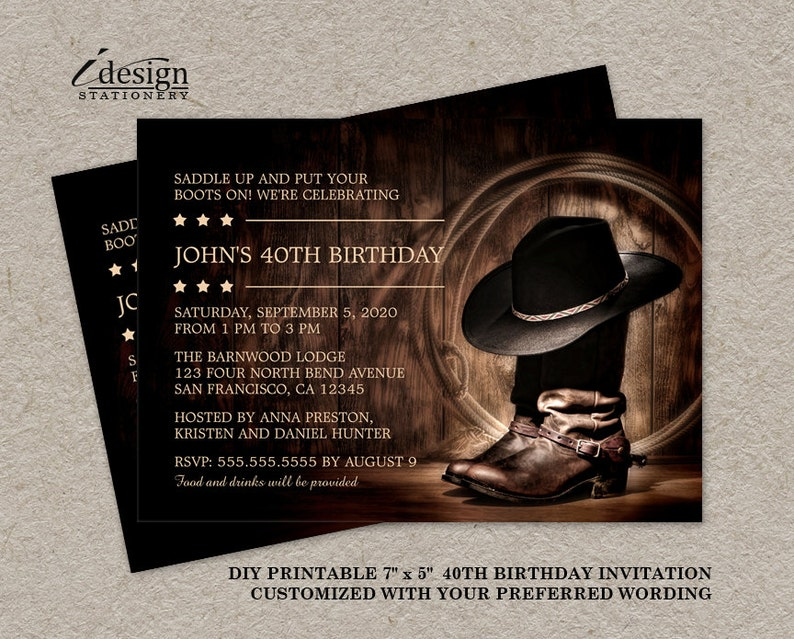 Country Western 40th Birthday Party Invitation With Cowboy Boots DIY Printable Wild West Rodeo Themed Invitations
