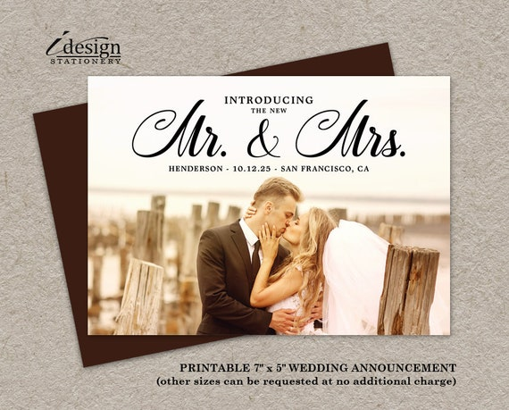 wedding announcement cards printable marriage announcements etsy