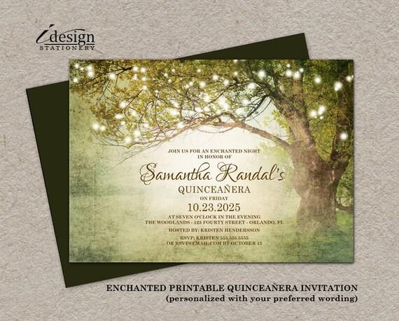 enchanted forest quinceañera invitation printable fairytale etsy