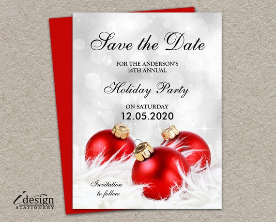 Christmas Party Save The Date Cards.Holiday Party Save The Date Card Printable Office Holiday Party Invitation