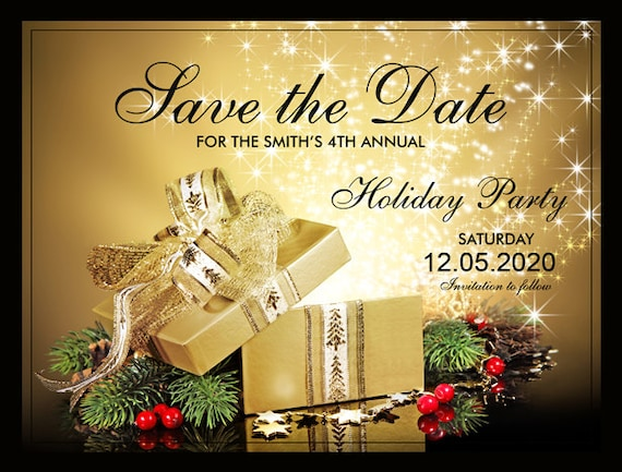 Christmas Party Save The Date Cards.Printable Christmas Or Holiday Party Save The Date Gift