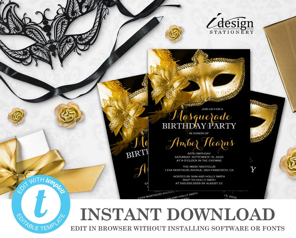 masquerade 50th birthday invitation instant download