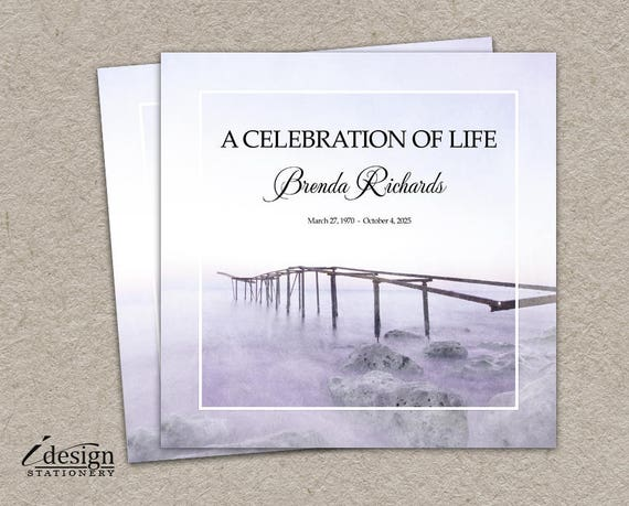 celebration of life invitation printable memorial service etsy