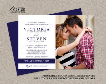 Photo Engagement Party Invitation | Printable We're Engaged Invitations | Modern Navy And White Engagement Invite With Monogram