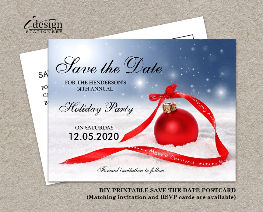 Christmas Party Save The Date Card DIY Printable Corporate | Etsy