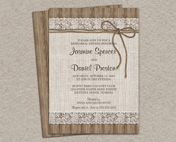 rustic burlap and lace rehearsal dinner invitation diy etsy