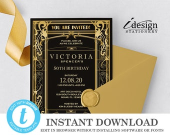 Editable Great Gatsby 50th Birthday Party Invitation | Instant Download Template | Printable Art Deco Roaring 20's Invitations | Templett