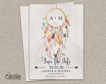 Rustic Bohemian Style Save The Date With Dreamcatcher | DIY Printable Boho Save The Dates | Tribal Dream Catcher Wedding Save The Date Cards