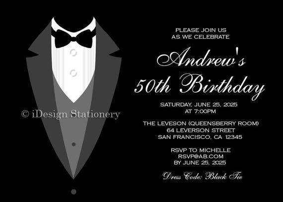 tuxedo invitation 50th birthday invitations instant etsy