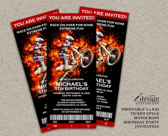 Motocross Birthday Invitation Dirt Bike Invite