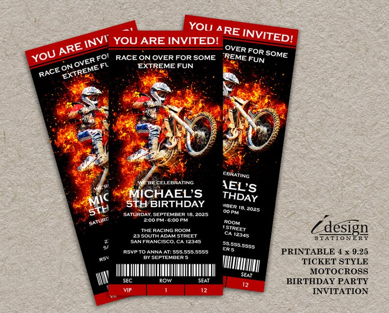 Motocross Birthday Invitation Dirt Bike Invite