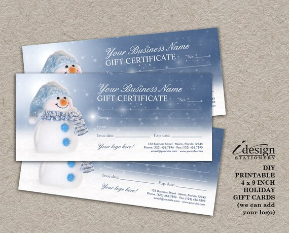 snowman gift certificates printable christmas and holiday etsy