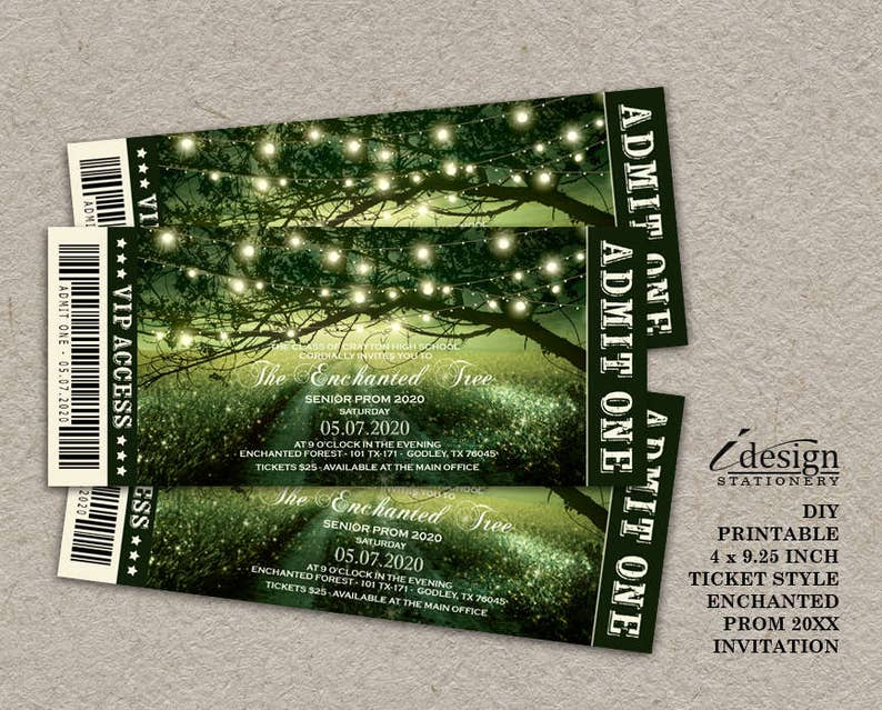 098de2b7e87 Enchanted Prom Invitation Printable Fairytale Forest Prom