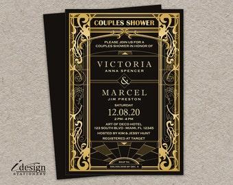 Vintage Art Deco Couple Shower Invitation | DIY Printable Roaring 20's Gatsby Style Art Nouveau Wedding Shower Invite In Gold & Black