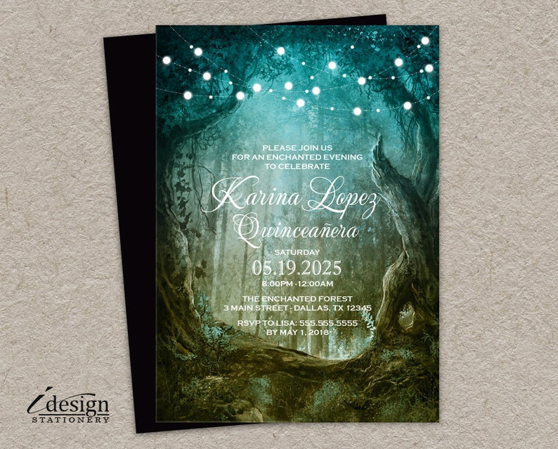 Enchanted Forest Quinceanera Invitation Printable Fairytale