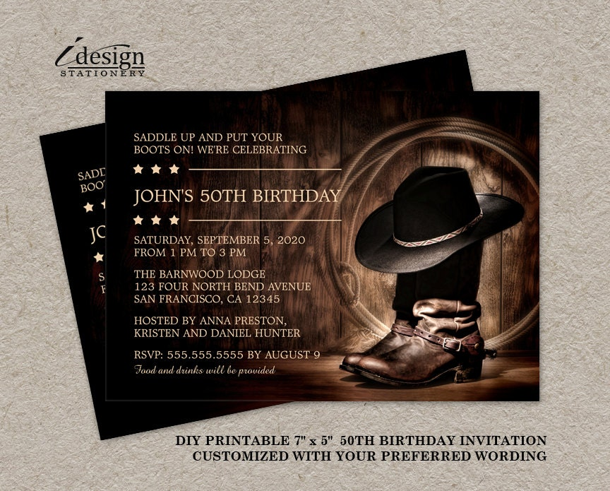 Country Western 50th Birthday Party Invitation With Cowboy