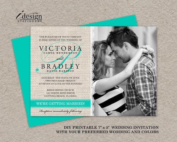 Wedding Invitations Turquoise: Items Similar To DIY Printable Rustic Turquoise Wedding