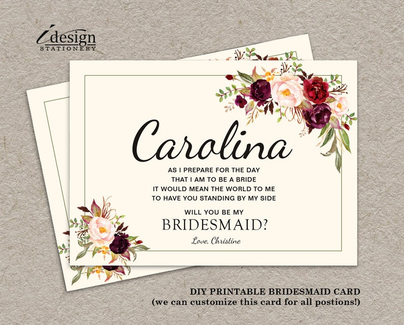 photo about Will You Be My Bridesmaid Printable titled Will By yourself Be My Bridesmaid Card Printable Boho Bridesmaid Proposal Card