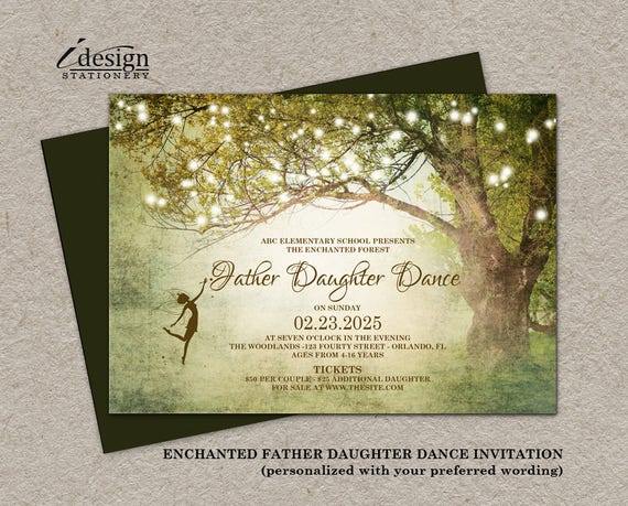 Enchanted Forest Father Daughter Dance Invitation Printable Etsy