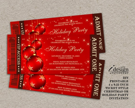 holiday party ticket invitations elegant red and gold ticket etsy
