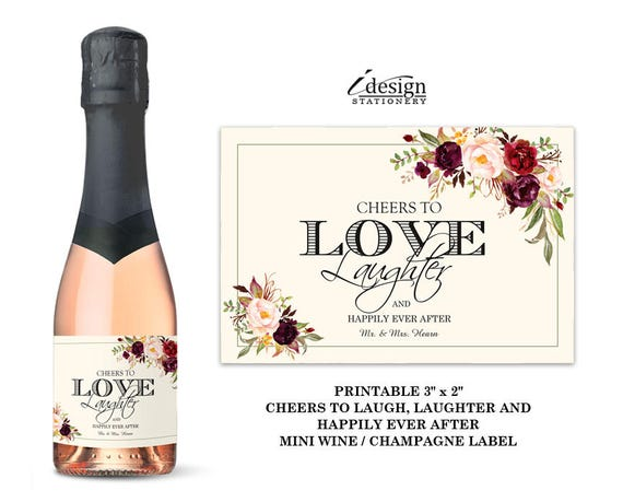 mini wine bottle labels wedding printable floral cheers to etsy