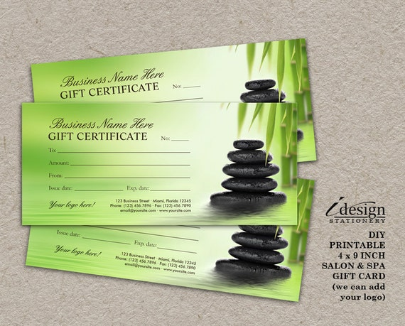 Salon Gift Certificate Printable Spa Gift Card Massage Etsy