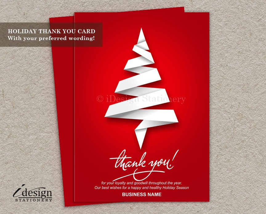 Business Christmas Thank You Cards With Logo Personalized | Etsy
