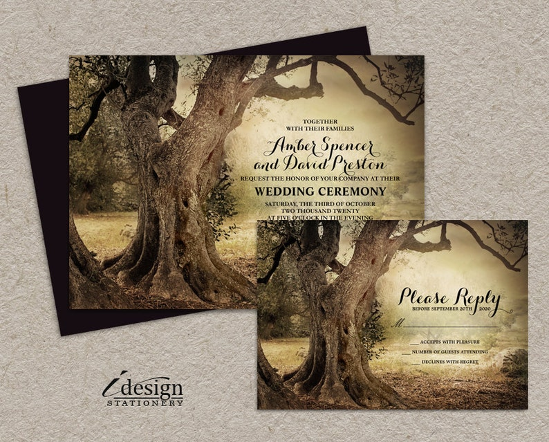 Rustic Woodland Wedding Invitation With Rsvp Printable Tree Etsy