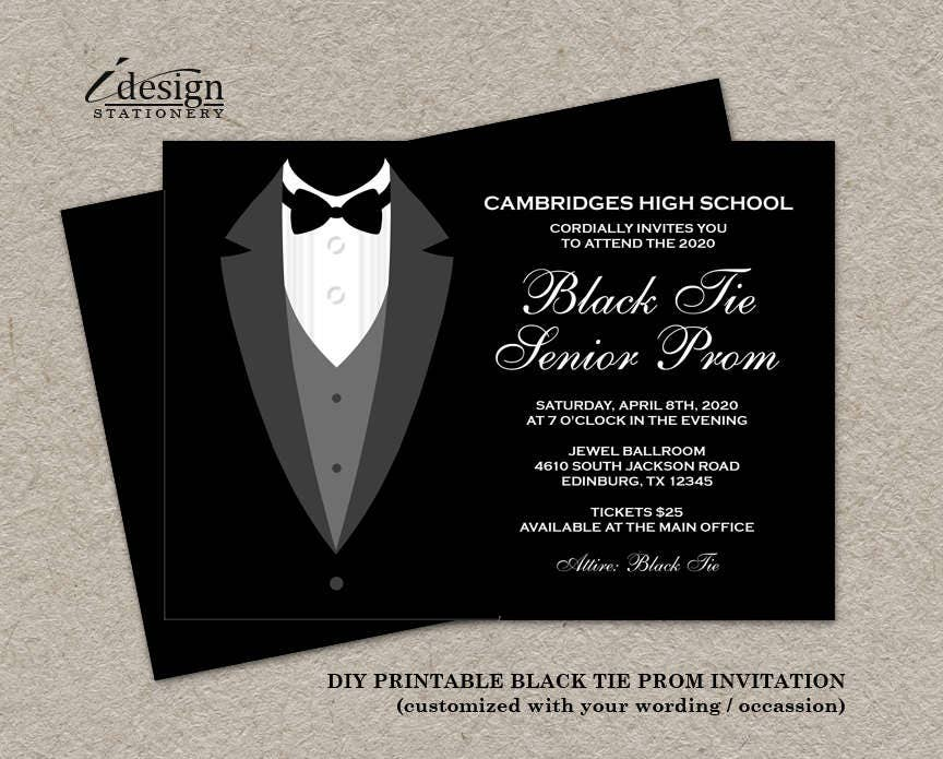 Black Tie Affair Prom Invitations Formal Diy Printable Etsy
