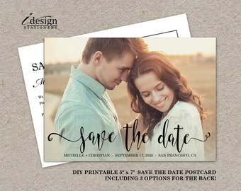 Photo Save The Date Card   Printable Wedding Save The Dates With Picture And Handwriting Font   Double Sided Save The Date Postcards