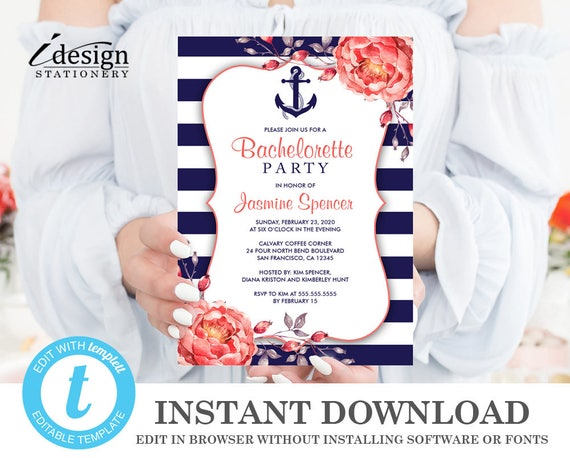 Nautical Bachelorette Invitation Printable