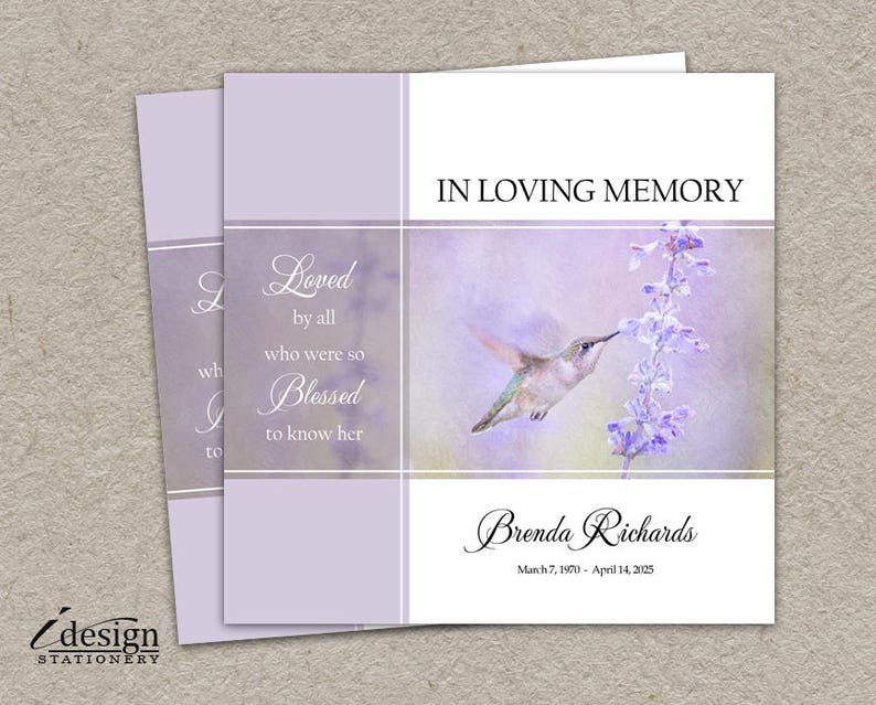 Memorial Service Invitation Funeral Announcement Printable Etsy