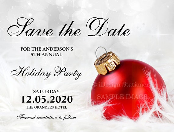 printable christmas party invitations with save the date cards etsy