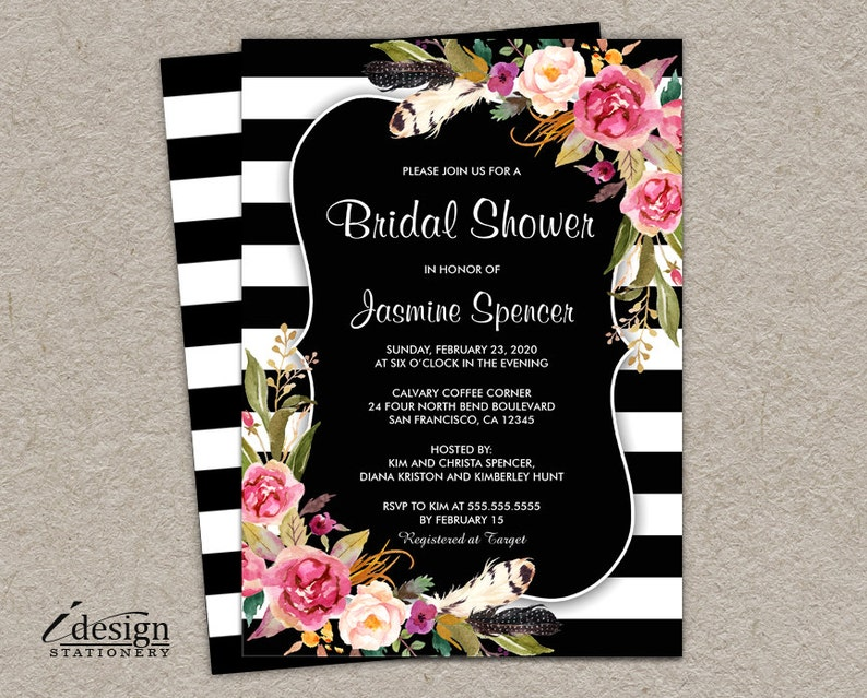 100254fbb24ab PRINTABLE Floral Bridal Shower Invitation Botanical Black