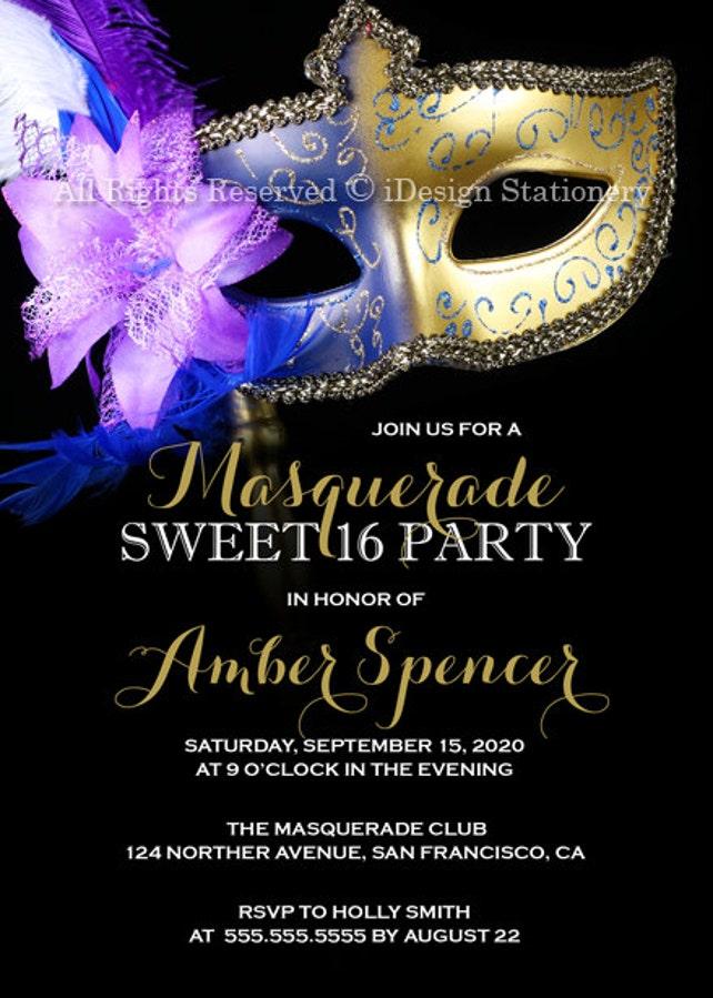 Sweet 16 Masquerade Invitation Diy Printable Mardi Gras Sweet 16