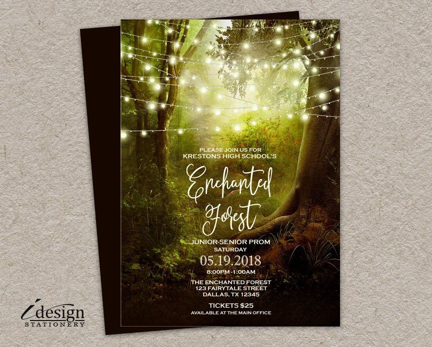 Enchanted Forest Themed Wedding Invitations: Enchanted Forest Prom Invitation Printable Enchanted